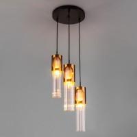 Подвесной светильник со стеклянным плафоном 50087/3 черный/бронза