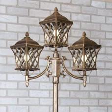 Уличный трехрожковый светильник на столбе Cassiopeya F/3 черное золото