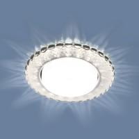 Точечный светильник с LED подсветкой 3034 GX53 SL/WH зеркальный/белый