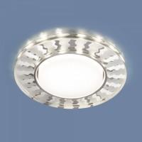 Точечный светильник с LED подсветкой 3038 GX53 SL/WH зеркальный/белый