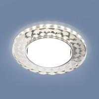 Точечный светильник с LED подсветкой 3037 GX53 SL/WH зеркальный/белый